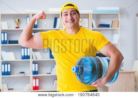 Man delivering water bottle to the office