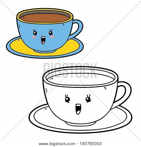 Vector illustration coloring page of happy cartoon cup for children, coloring and scrap book