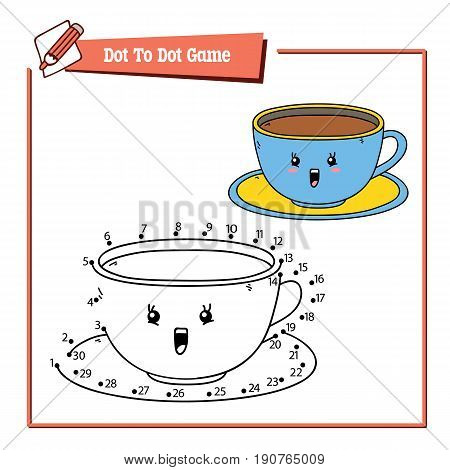 Vector illustration of dot to dot educational puzzle game with happy cartoon cup for children