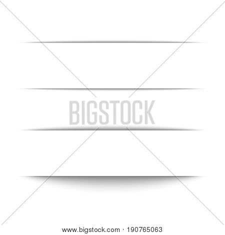 Set of black shadow for page tab dividers. Vector isolated on white background. Collection paper shadow effect. Text box, banner.