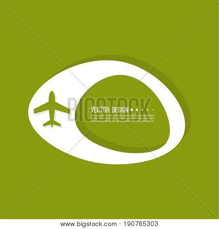 Abstract geometric shape banner with icon airplane. Vector frame speech bubble. Air text box. Aeroplane textbox. Green.