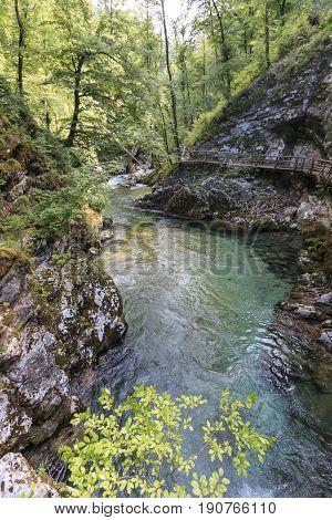 Vintgar Gorge, Between Bled Lake And Bohinj Lake In Slovenia, Europe.