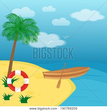 Sailing Boat, Ship, Rowboat With Wooden Paddle And Buoy In The S