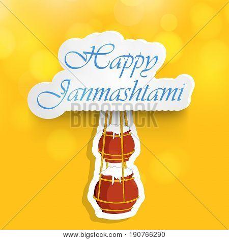 illustration of hanging pots of butter with Happy Janamashtami text on the occasion of hindu festival janamashtami