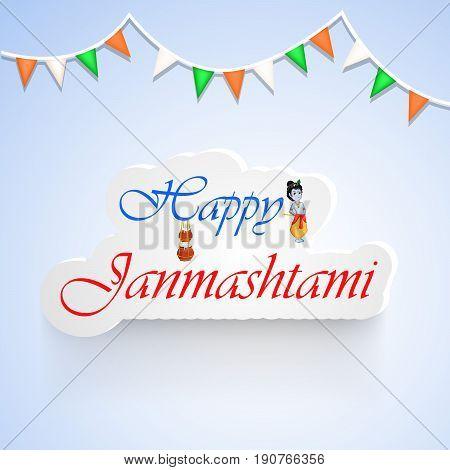 illustration of Happy Janamashtami text on the occasion of hindu festival Janamashtami