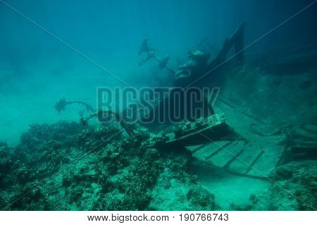Bow Of Shipwreck On Bottom Of Sea