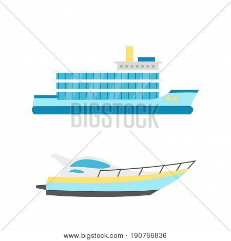 Collection of nautical vehicles: sail boat ship vessel luxury yacht speedboat. Vector set icons isolated on white background.