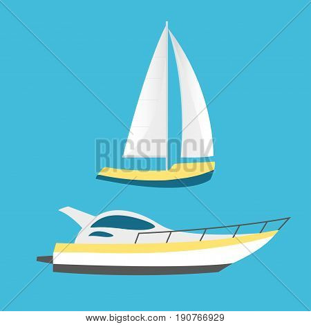 Collection of nautical vehicles: sail boat ship vessel luxury yacht speedboat. Vector set icons isolated on blue background.