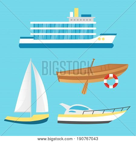 Collection of nautical vehicles: sail boat ship vessel luxury yacht speedboat rowboat with wooden paddle and buoy. Vector set icons isolated on blue background.