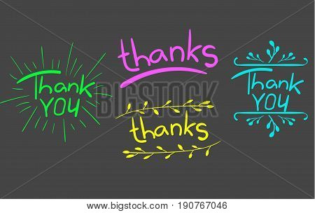 'Thank oyou' and 'thanks' words isolated on gray. Handwritten letters with hand drawn elements. VECTOR. Colored.