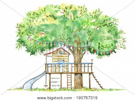 Tree house for kids.Swing, slide and playhouse.Summer image.White background. Watercolor hand drawn illustration.