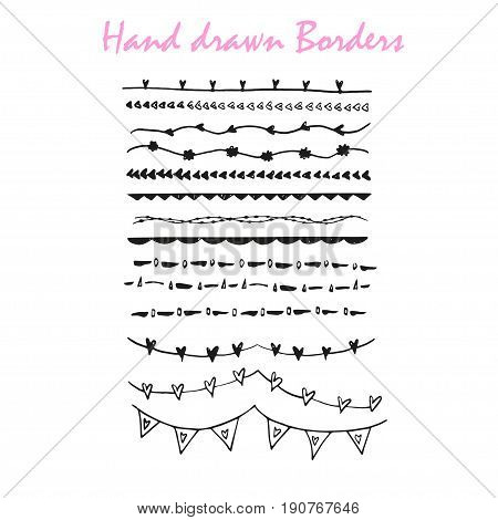 Collection of hand drawn ink borders for card, invitation. Cute and unique swirls, dividers for your stylish wedding or birthsday design. Isolated vector elements.