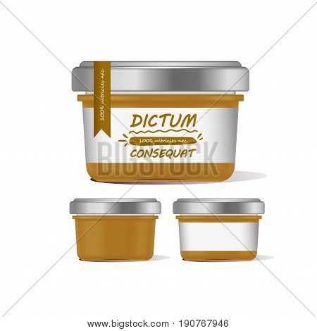 Vector illustration orange glass jar for baby food realistic bank on white background. Organic baby food puree. Mock up with template design label.