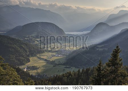 Aerial View Of Bohinj Lake At Sunset In Julian Alps. Popular Touristic Destination In Slovenia Not F