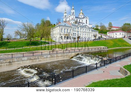 Holy Dormition Cathedral on Assumption Mount and Holy Spirit Monastery at river Vitba beautiful spring view Vitebsk Belarus