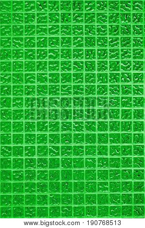 Green tile wall of high resolution real photo or brick seamless and texture of interior background