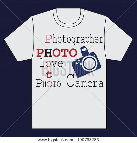 White t-shirt with a camera and words. Emblem. Making the white shirt on a dark blue background . Vector image. Design for textile fabric printing.