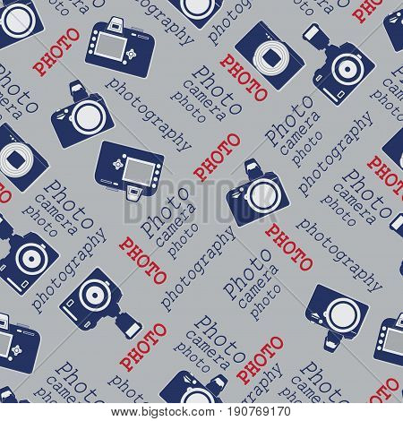 Vintage cameras. Background composition. Seamless pattern with cameras and words. Design for textiles, tapestries, packaging materials.