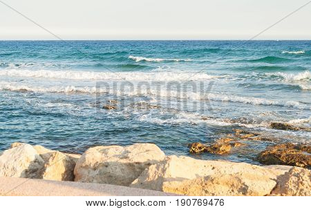 Sea Waves Crashing On Rocks. Waves Crash
