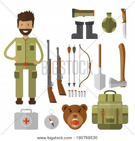 Set of hunting equipment and gear for hunt. Vector icon collection: rifle, knife, shotgun, boots, binoculars, flashlight, lantern, compass, backpack and cartoon character.