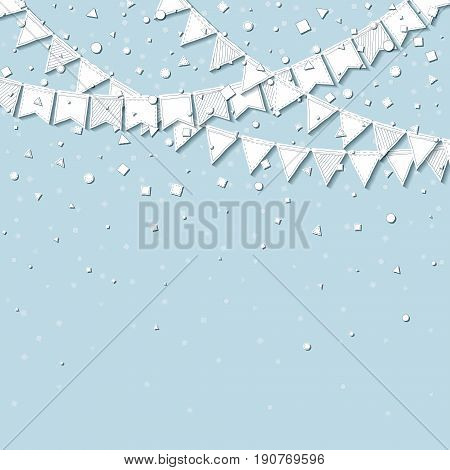 Bunting Party. Good-looking Celebration Card With White Stitched Cutout Paper Bunting Party And Conf