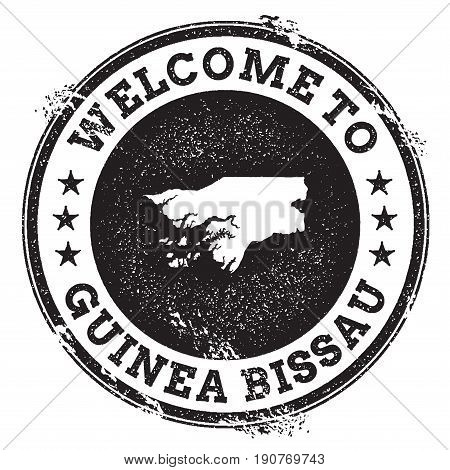 Vintage Passport Welcome Stamp With Guinea-bissau Map. Grunge Rubber Stamp With Welcome To Guinea-bi