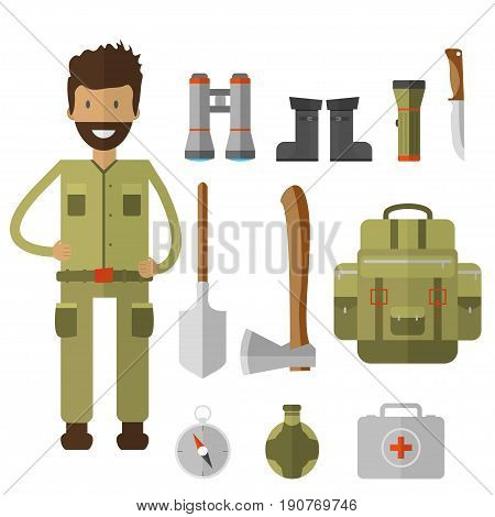Mountain camping elements. Set of hiking equipment and gear for forest camp. Vector icon collection: binoculars, flashlight, lantern, knife, compass, backpack and cartoon character.