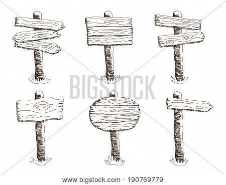 Hand Drawn Vector Wooden Signboards Set