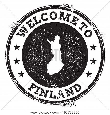 Vintage Passport Welcome Stamp With Finland Map. Grunge Rubber Stamp With Welcome To Finland Text, V