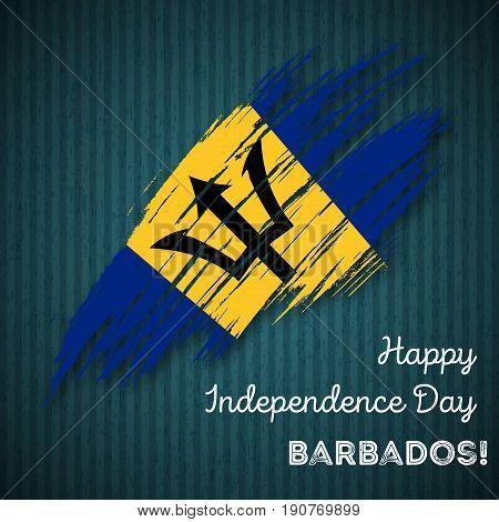 Barbados Independence Day Patriotic Design. Expressive Brush Stroke In National Flag Colors On Dark