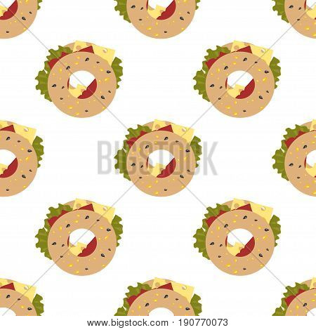 Cute seamless pattern with sandwich. Concept of obesity.  Website colorful background. Template for menu of fast food restaurant or unhealthy lifestyle infographics.