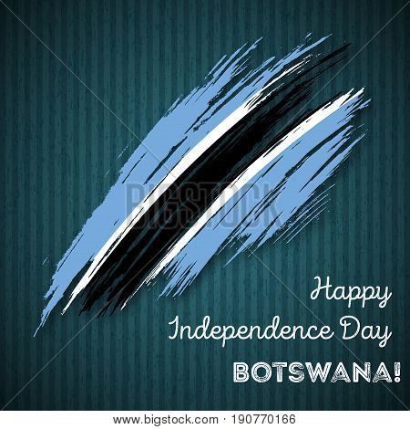 Botswana Independence Day Patriotic Design. Expressive Brush Stroke In National Flag Colors On Dark