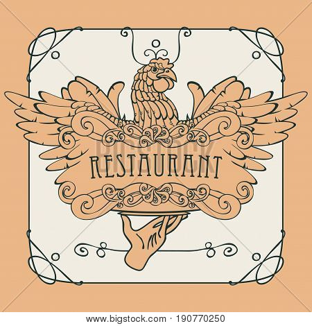 Vector restaurant menu with a picture of a hand with a tray on which is a chicken in an Art Nouveau style with a curly frame.
