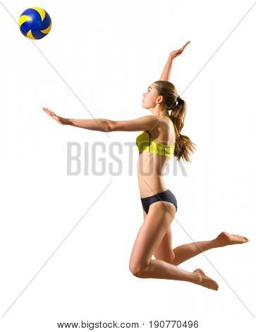 Young woman beach volleyball player isolated (with ball ver)