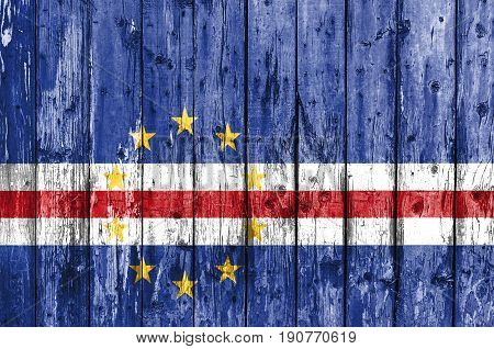 Flag of Cape Verde painted on wooden frame