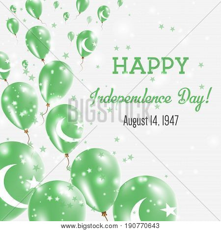 Pakistan Independence Day Greeting Card. Flying Balloons In Pakistan National Colors. Happy Independ