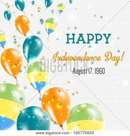 Gabon Independence Day Greeting Card. Flying Balloons In Gabon National Colors. Happy Independence D