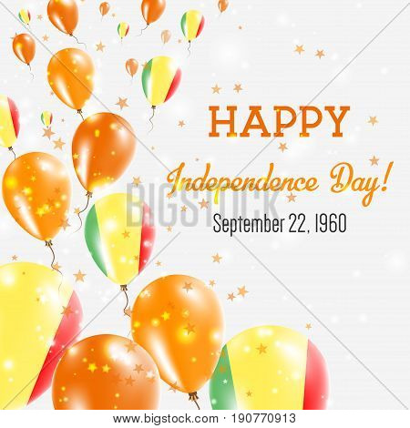 Mali Independence Day Greeting Card. Flying Balloons In Mali National Colors. Happy Independence Day