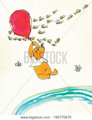 A yellow bear in a white T-shirt is flying on a red balloon. Around the bear flies a flock of striped bees. On a textured background. Stylization of children's drawing