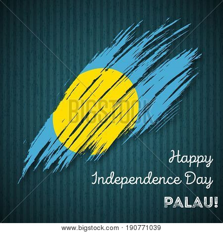 Palau Independence Day Patriotic Design. Expressive Brush Stroke In National Flag Colors On Dark Str