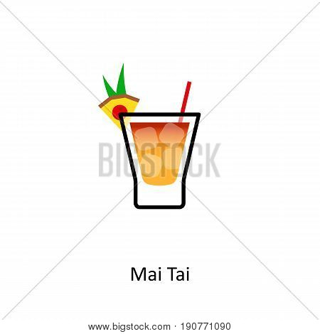 Mai Tai cocktail icon in flat style. Vector illustration