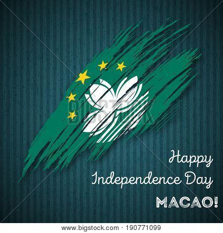 Macao Independence Day Patriotic Design. Expressive Brush Stroke In National Flag Colors On Dark Str