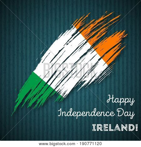 Ireland Independence Day Patriotic Design. Expressive Brush Stroke In National Flag Colors On Dark S