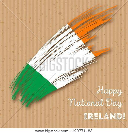Ireland Independence Day Patriotic Design. Expressive Brush Stroke In National Flag Colors On Kraft