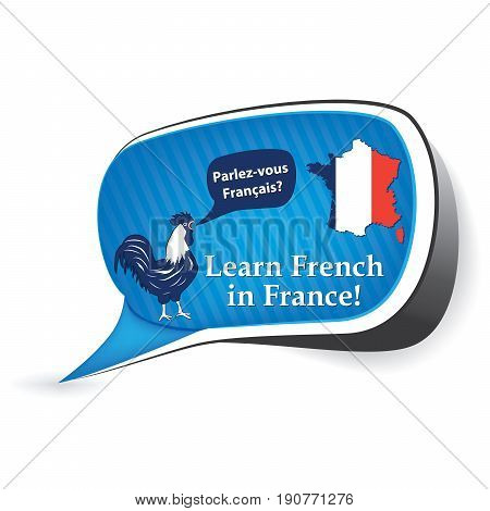 Learn French in France  - ( Parlez vous Francais? - do you speak French?) speech bubble / sticker  / sign / icon with the flag of France, also for print