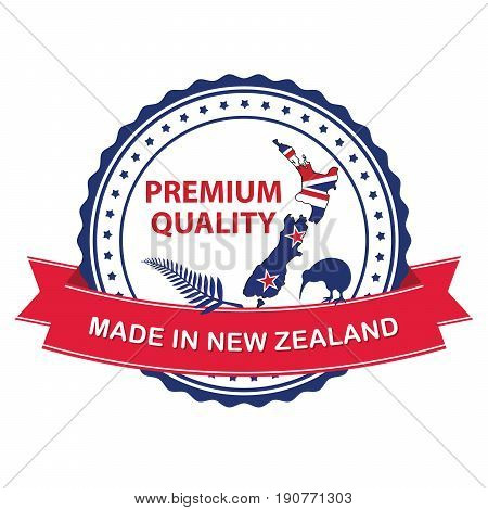 Made in New Zealand, Premium quality quality stamp / label with the New Zealand's map, kiwi bird and thumbs up. Print colors used
