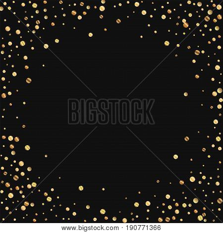 Sparse Gold Confetti. Bordered Frame On Black Background. Vector Illustration.