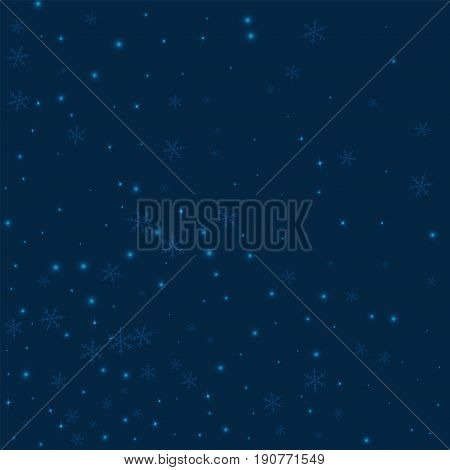 Sparse Glowing Snow. Abstract Mess On Deep Blue Background. Vector Illustration.