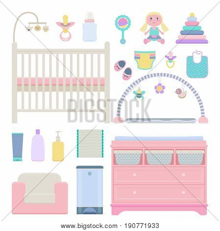 Vector illustration of baby accessories and room interior objects: craddle toys changing table armchair skincare chemicals activity mat bib diaper pail