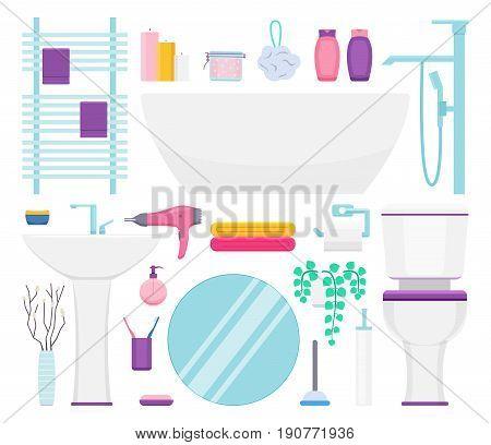 Bathroom interior elements set. Vector illustration: towel holder paper body puff bath tub sink hairdryer towels toilet